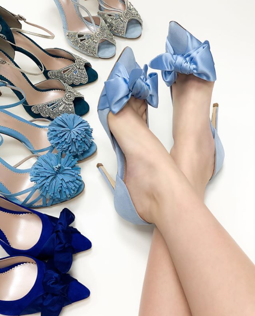 Florence Blue Bow Shoes Created Using The Emmy London Bespoke Service