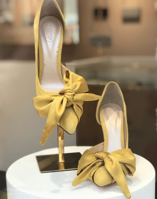 Florence Bow Shoes in Mustard By Emmy London Bespoke Service