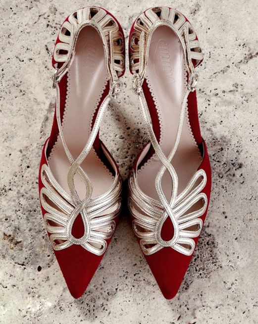 Leila Shoes In Red and Gold Created Using The Emmy London Bespoke Service
