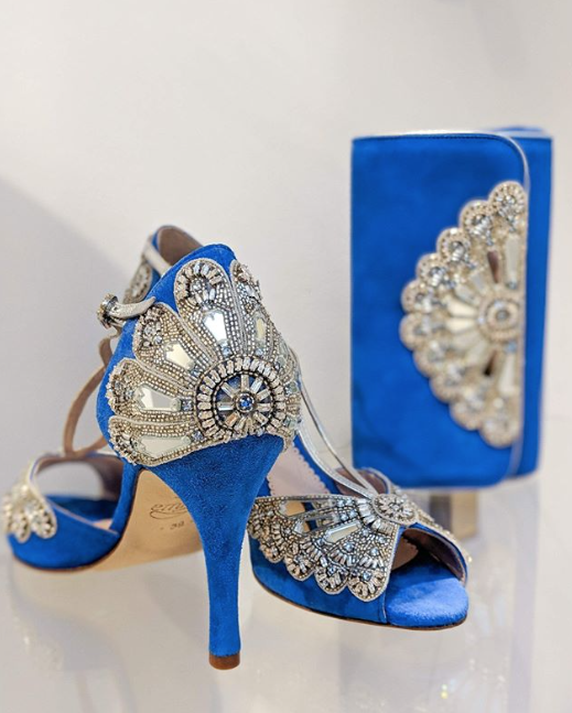 Blue Cinderella Shoes And Matching Clutch Created Using the Emmy London Bespoke Service