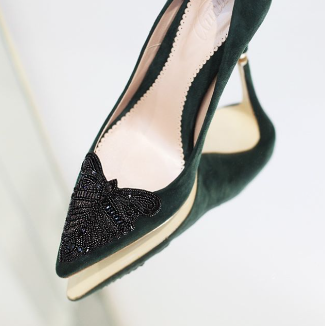 Emmy London Embellished Green Court Shoes Create These Using the Emmy London bespoke Service