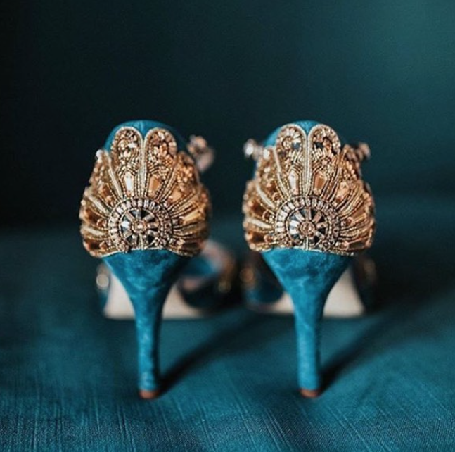 Blue Cinderella Shoes With Gold Embellishments By Emmy london Bespoke Service