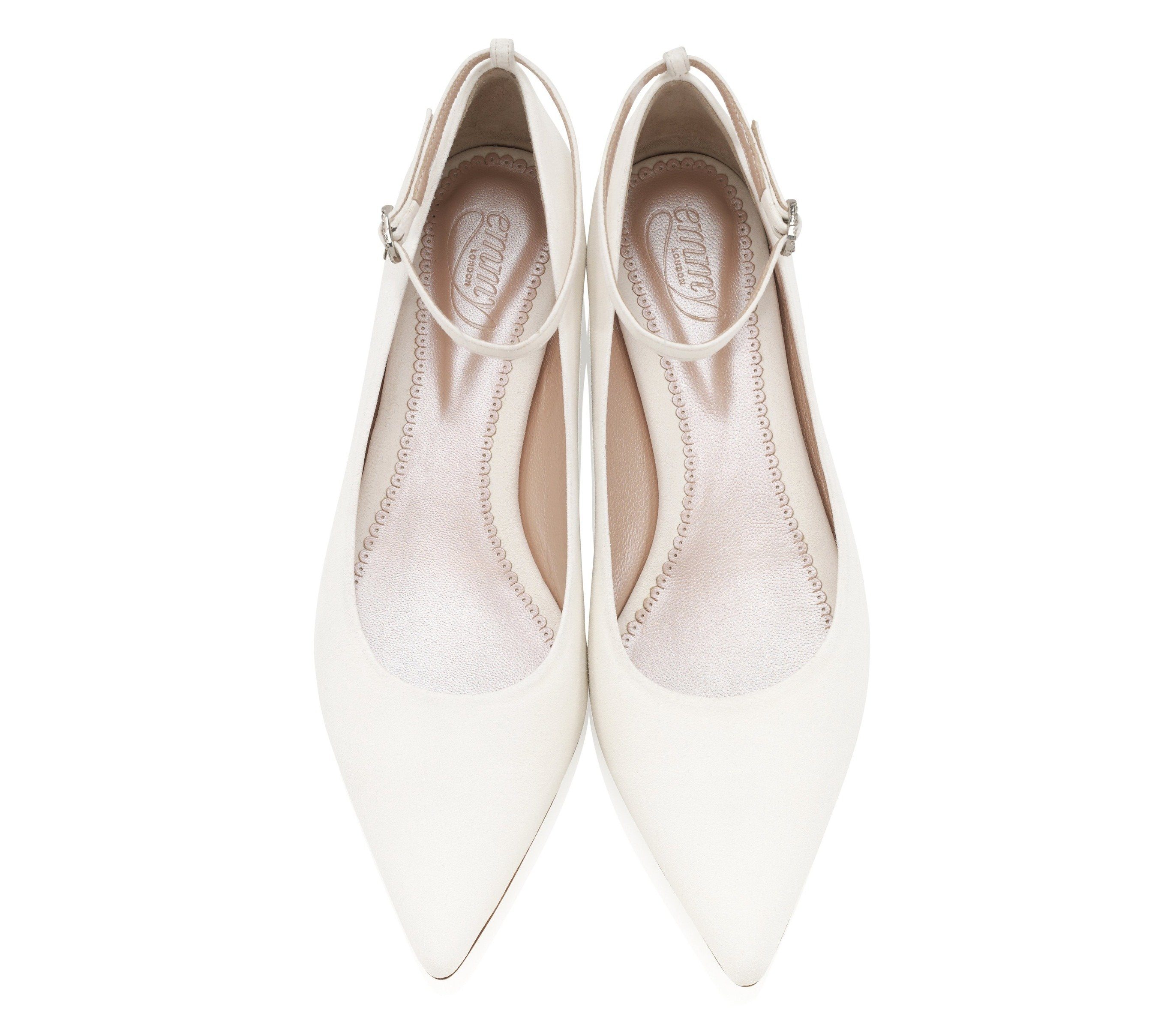 Zoe Ivory Flat Bridal Shoes By Emmy London