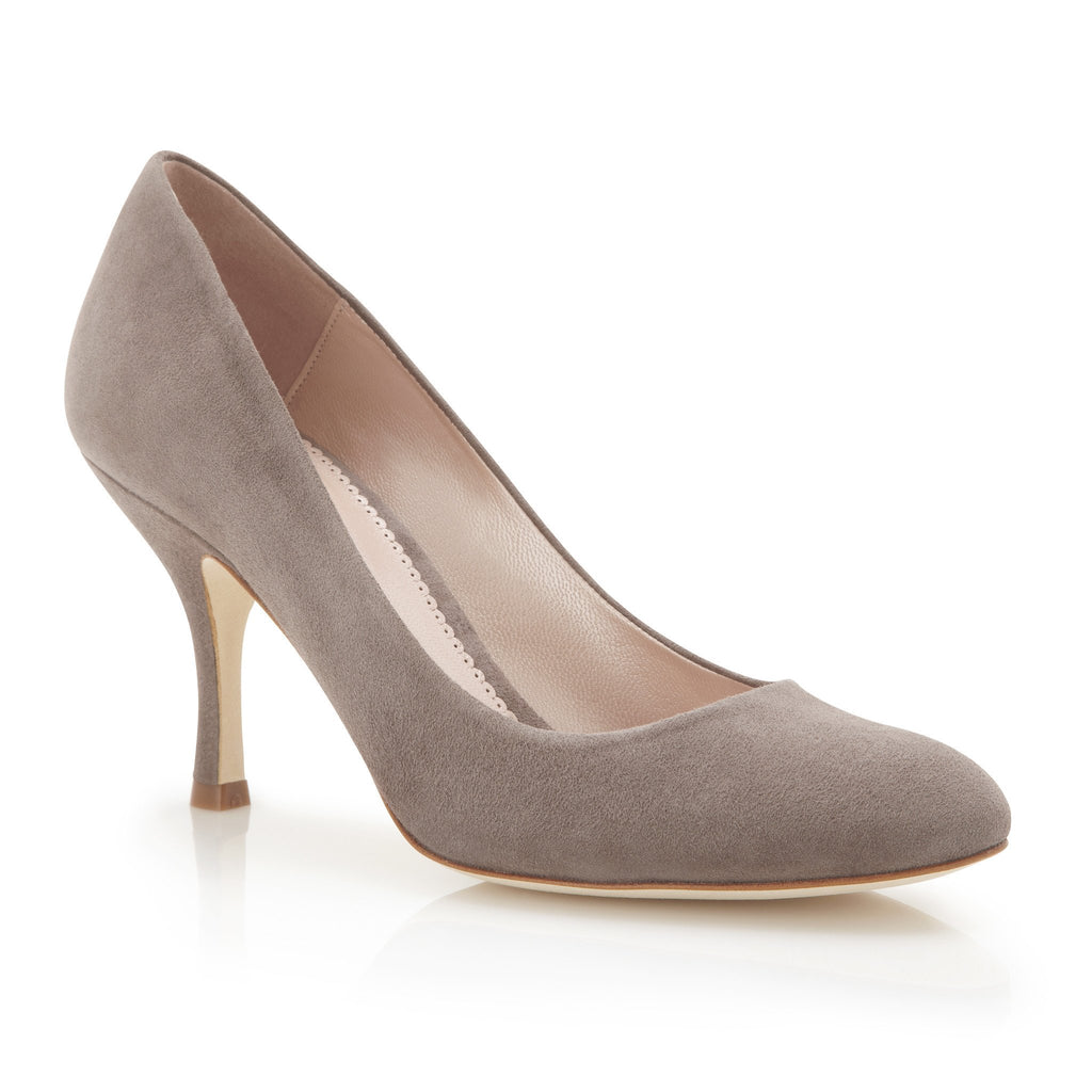 Poppy Cinder - Occasion Shoe - Cinder Kid Suede - Mid Heel - Court Shoe