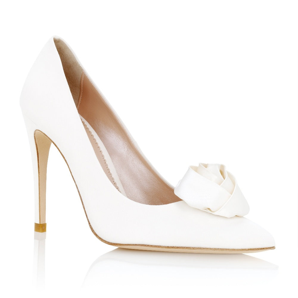 Ivory Satin Rose Shoe Clips Designed by Emmy London
