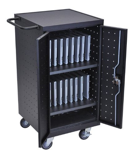 "LUXOR LLTP18-B Laptop Computer Charging Cart, 18"", Black"