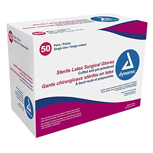 Dynarex Sterile Latex Surgical Glove, Size 8, 50 Pairs, 4 Count