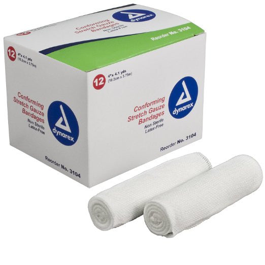 "Dynarex 3104 Stretch Gauze Bandage Roll N/S 4"" 8/12/Case (96)"
