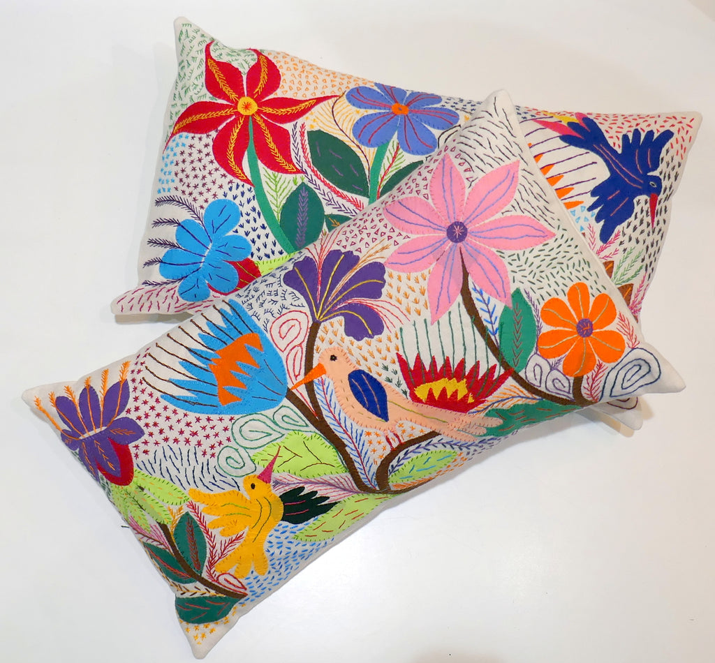 Coussin brodé nature appliqués  rectangle