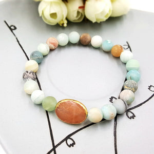 Natural Stone Matted Amazonite&Sunstone/Lava&Green Agate Beads Bracelet