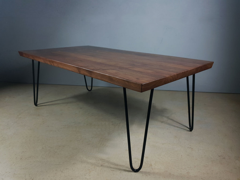 Rita, American Black Walnut natural hardwood coffee table with hairpin style legs.