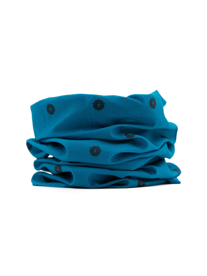 Teal Rosette Neck Gaiter (IN STOCK SHIPS NOW)