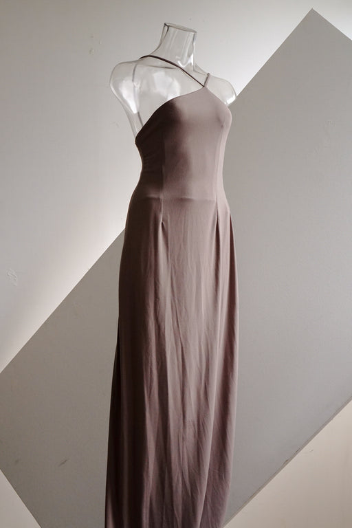 Taupe Angled Neckline Sleek Dress