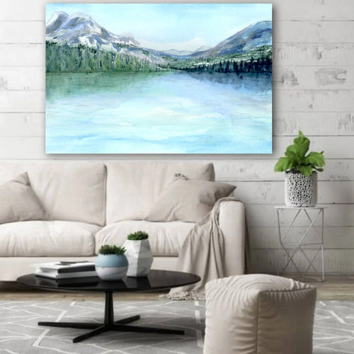 Misty Mountains Watercolor Lake Landscape Painting - Scenic Art Print