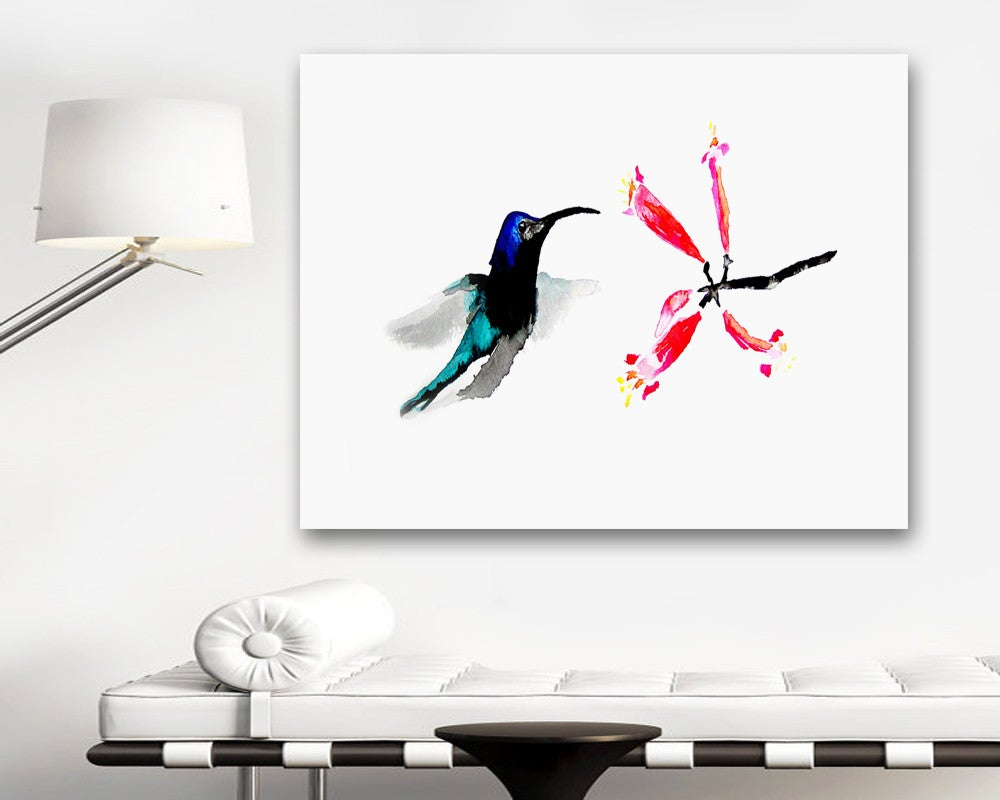 Watercolor Painting - Hummingbird Honeysuckle Bird Art Floral Sumi-e Art Print - Brazen Design Studio