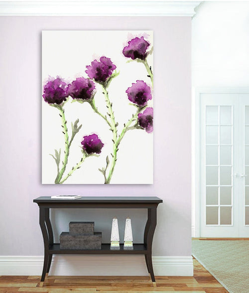 Watercolor Painting - Milk Thistle - Floral Sumi-e Art Print - Brazen Design Studio