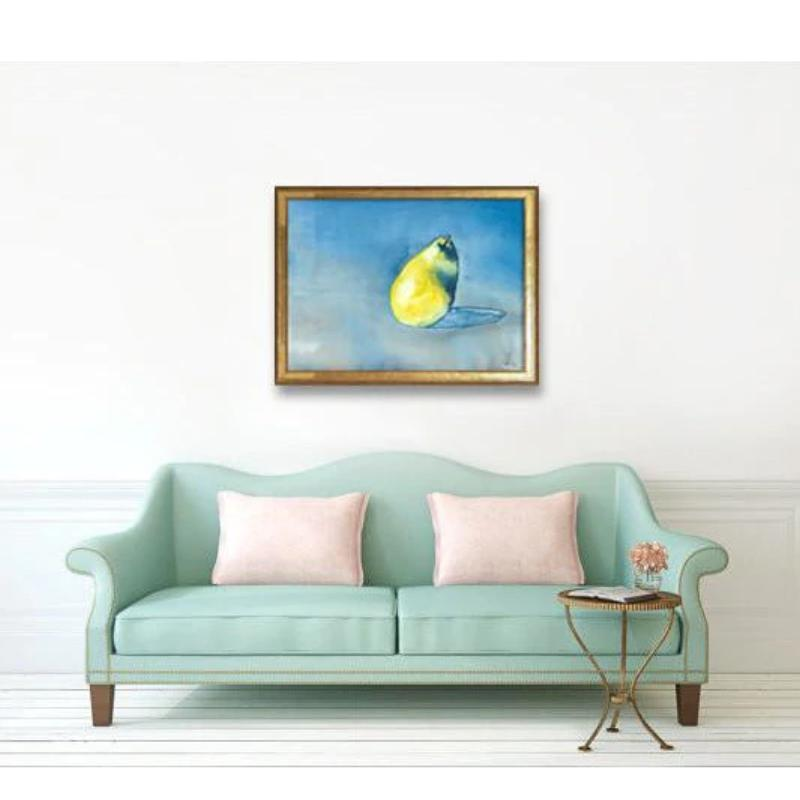 Original Still Life Watercolour Painting on Yupo - Bartlett Pear - Still Life Fruit Food Art - Brazen Design Studio