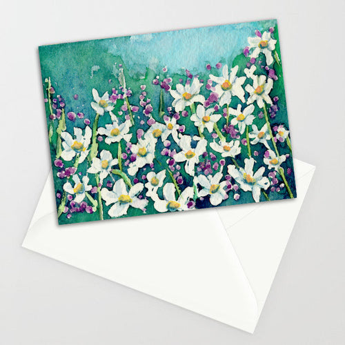 Dancing Daisies Watercolor Art Card
