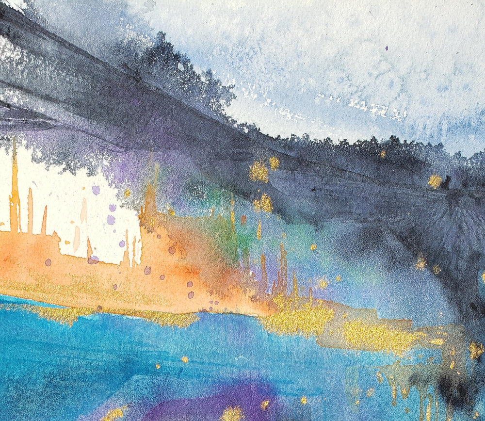 Neptune Valley - Original Watercolour Landscape Painting on Paper - Gold Abstract Art