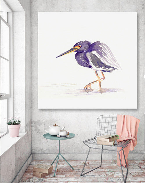 Watercolor Painting - Heron Tri Coloured Bird Sumi-e Art Print - Brazen Design Studio