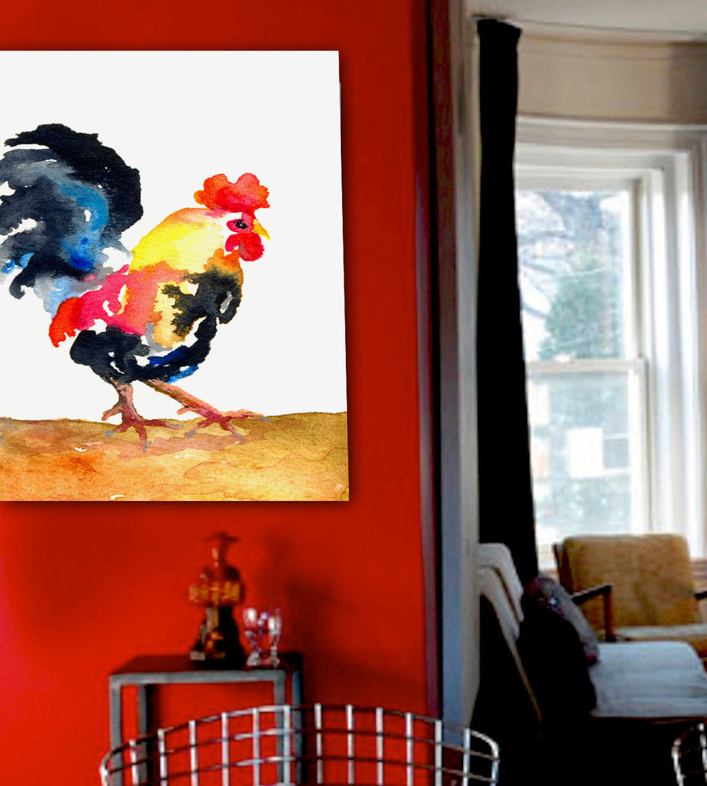 Watercolor Painting - Cockrel Rooster - Nature Bird Art Print - Brazen Design Studio