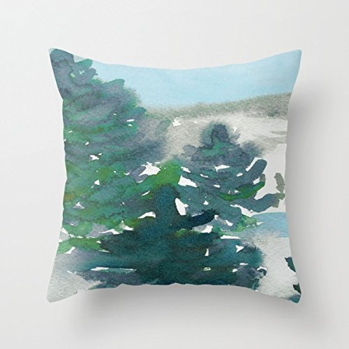 Winter Tale Throw Pillow - Decorative Evergreen Pillow Cover Accessories