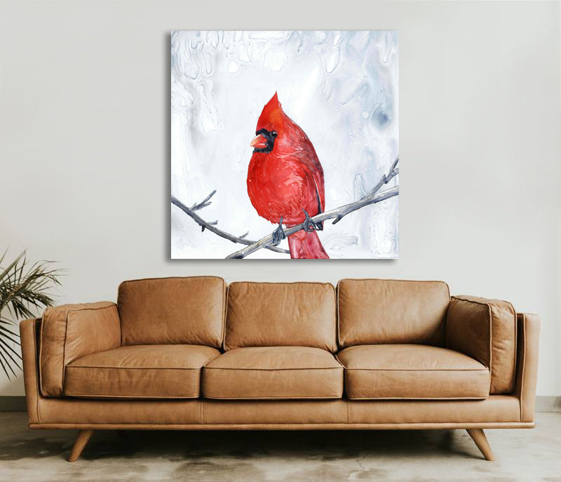 Red Cardinal Watercolor Painting - Waiting for Spring - Valley Bird Art Print