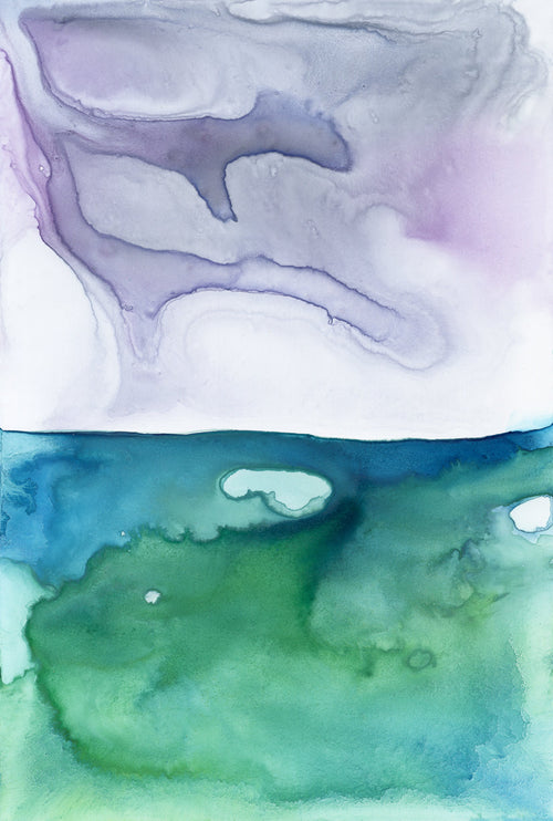 Beach Blanket Art Print - Sunset Seascape - Watercolor Painting