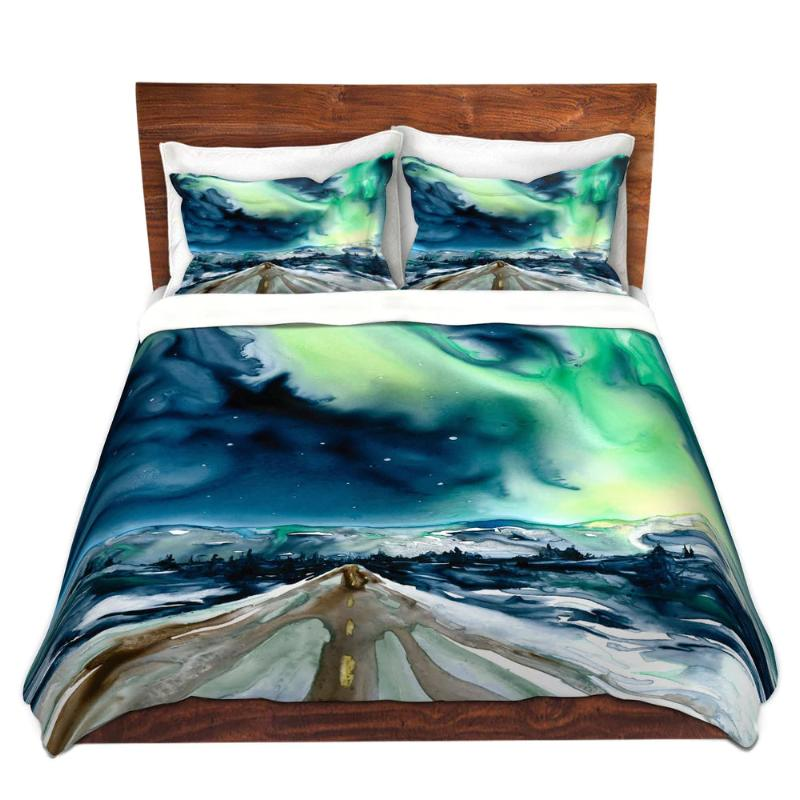 Aurora Borealis Watercolor Painting Modern Bedding - Duvet Set