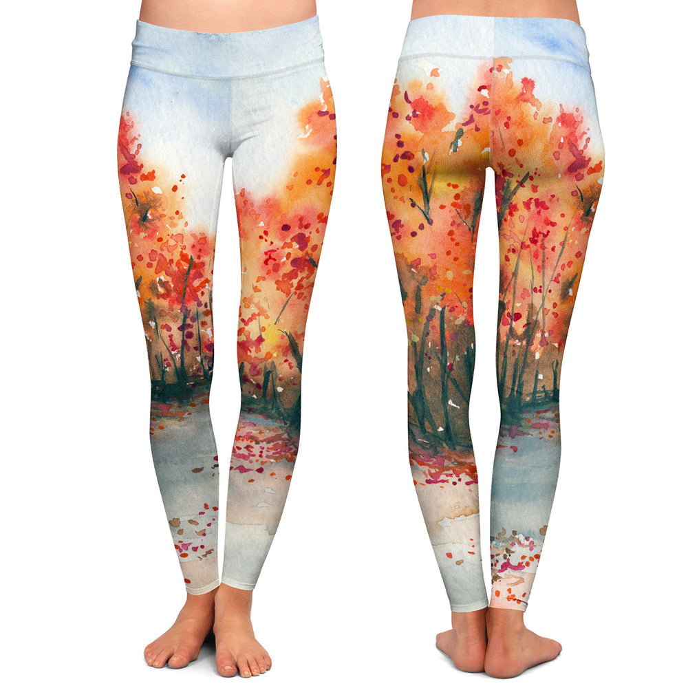 Autumn Journey Watercolor Painting - Artistic All Over Printed Leggings