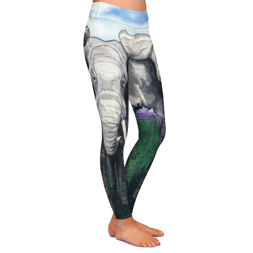 Elephant Watercolor Painting - Artistic All Over Printed Leggings