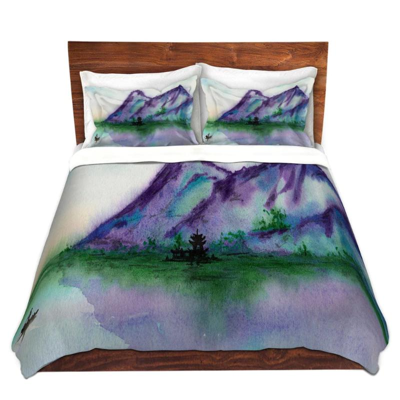 Japanese Temple Landscape Watercolor Painting Duvet Bedding Set