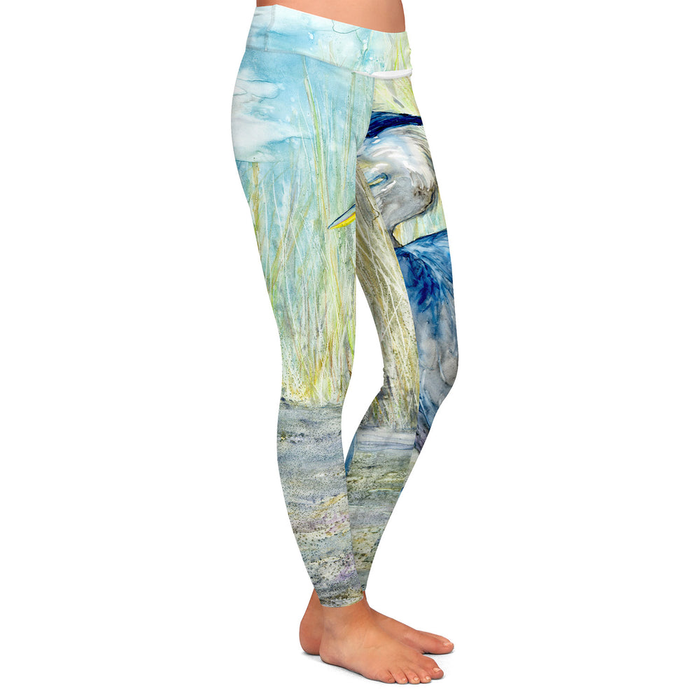Heron Watercolor Painting - Artistic All Over Printed Leggings
