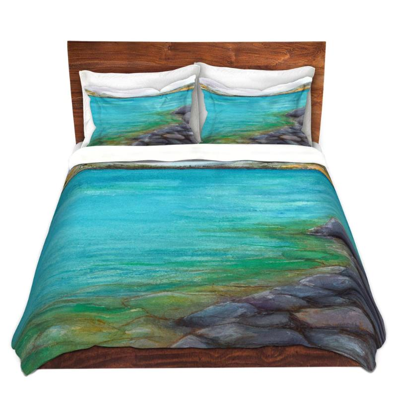 Kalamalka Lake PaintingNature Watercolor   - Modern Bedding - Duvet or Comforter