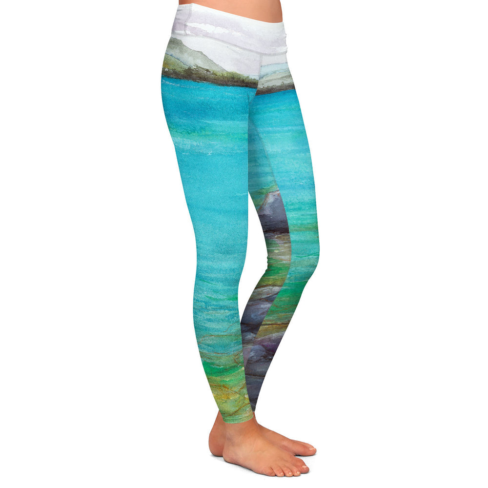 Artistic Designer Leggings - Lake Landscape Painting - All Over Printed Clothing
