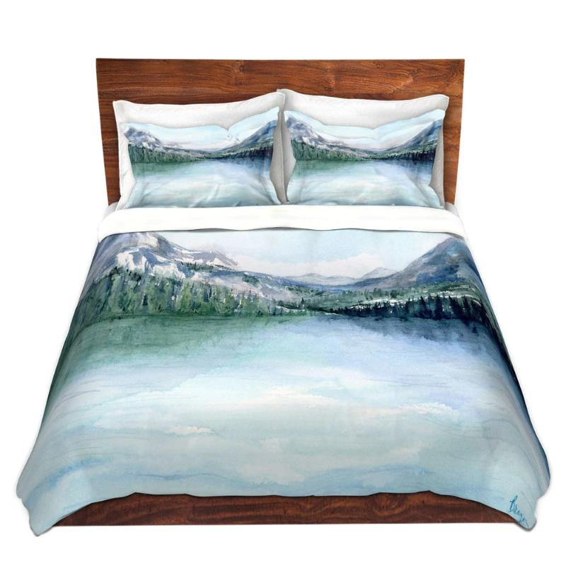 Misty Mountains Lake PaintingNature Watercolor   - Modern Bedding - Duvet or Comforter