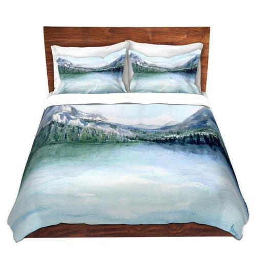 Misty Mountains Lake Painting - Nature Watercolor Modern Bedding - Duvet Set
