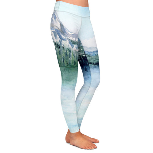 Artistic Designer Leggings - Rocky Mountain Painting - All Over Printed Clothing