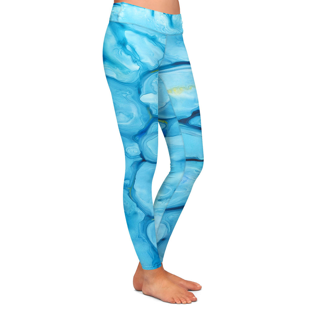 Nymphaea Abstract Painting - Artistic All Over Printed Leggings