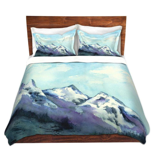 Rocky Mountains Painting - Nature Watercolor Painting Modern Bedding - Duvet Set