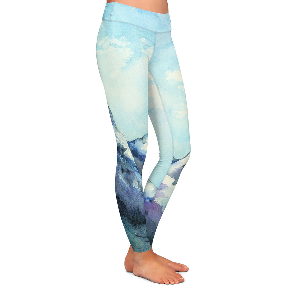 Artistic Designer Leggings - Rocky Mountains Painting - All Over Printed Clothing