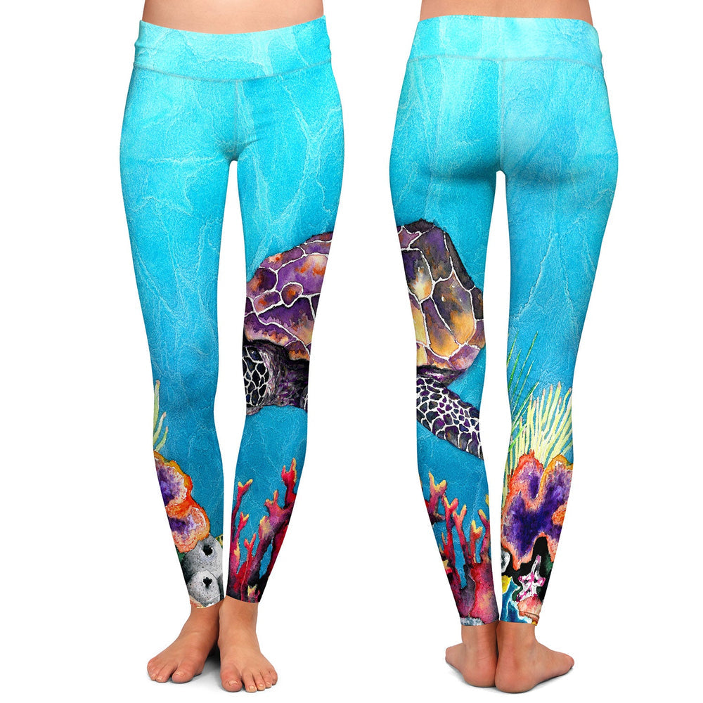 Artistic Designer Leggings - Sea Turtle Painting - All Over Printed Clothing