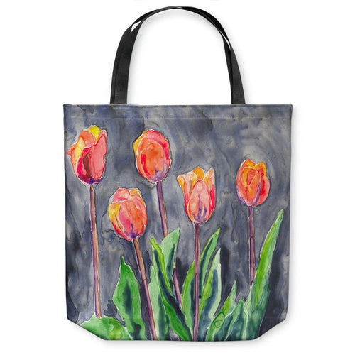Tulips Art Tote Bag - Watercolor Painting - Shopping Bag