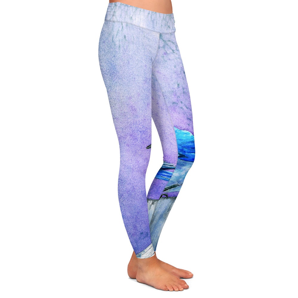 Bluebird Bliss Watercolor Painting - Artistic All Over Printed Leggings