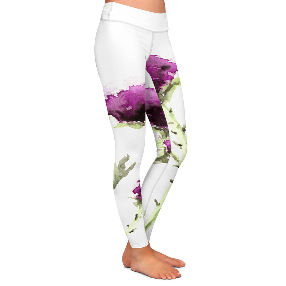 Artistic Designer Leggings - Milk Thistle Floral Painting - All Over Printed Clothing