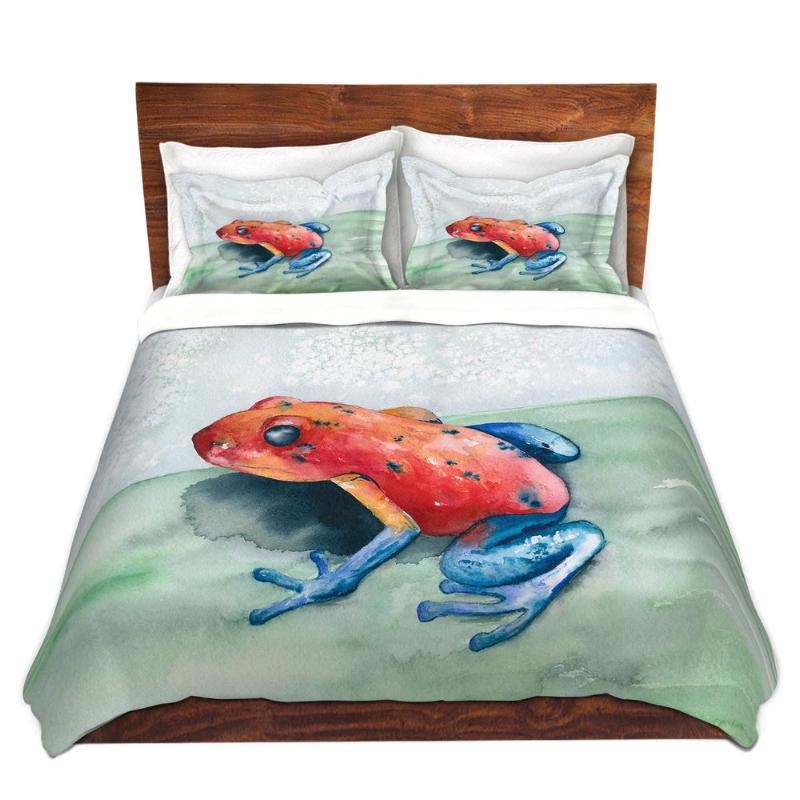 Blue Jean Frog Watercolor Painting  - Modern Bedding - Duvet or Comforter