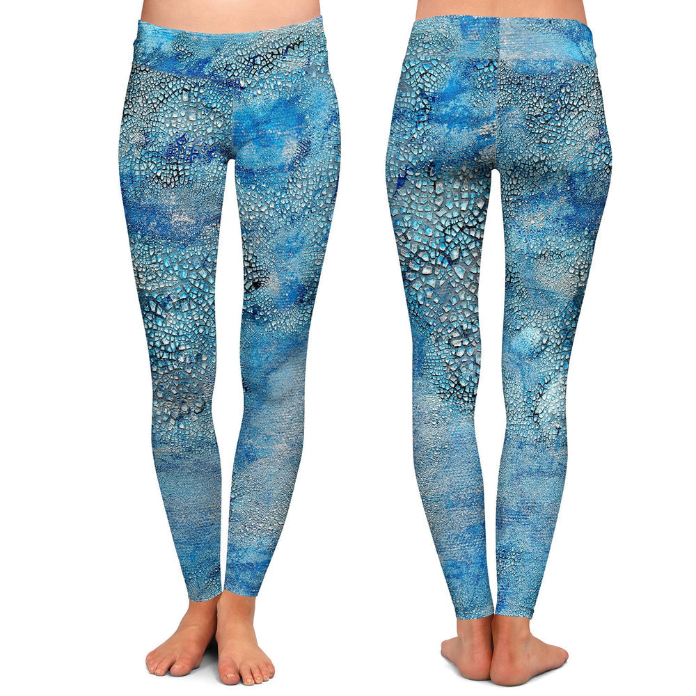 Blue Epsilon Abstract Painting - Artistic All Over Printed Leggings