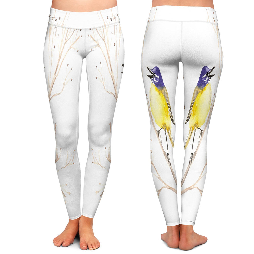 Yellow Wagtail Bird Leggings - Artistic All Over Printed Designer Clothing