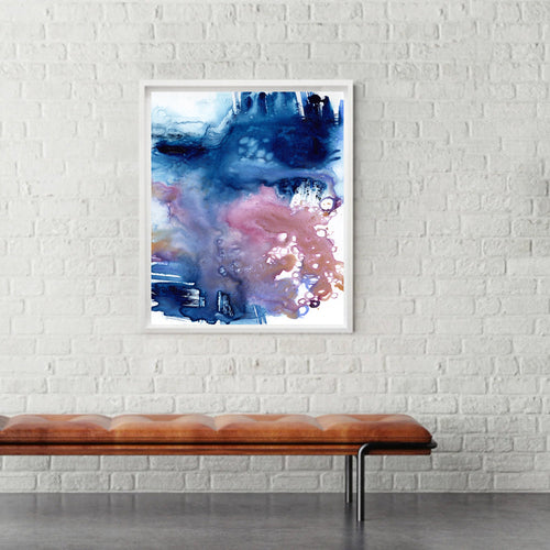 Azure Art Print - Abstract Seascape - Watercolor Painting