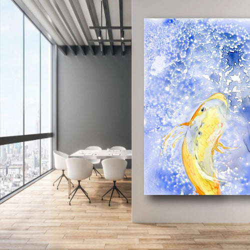 Watercolor Painting - Gold Koi Fish - Prosperity - Japanese Carp Art Print